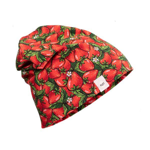 Maasikamustriline müts