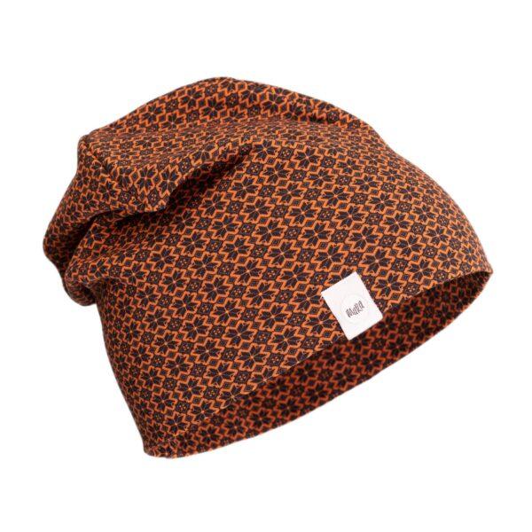 Musta-oranži-kirju-muhumustriline-müts-Eesti-disain
